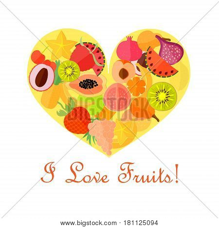 Bright Numerous Fruits in the Yellow Heart Shape and Text on the White Background. Vector EPS 10