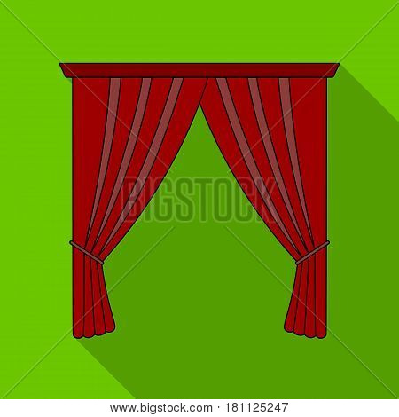 Curtains with drapery on the cornice.Curtains single icon in flat style vector symbol stock illustration .