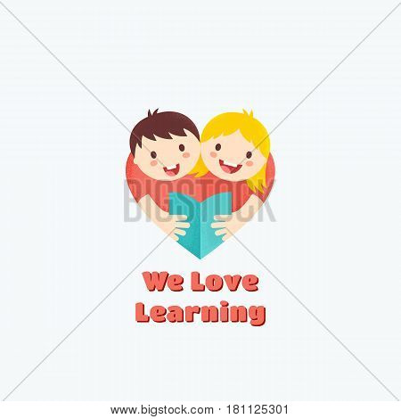 We Love Learning Abstract Vector Sign, Emblem or Logo Template. Boy and Girl Reading Book Illustration with Textures. Heart Shape Symbol. Learning or Education Concept. Isolated.