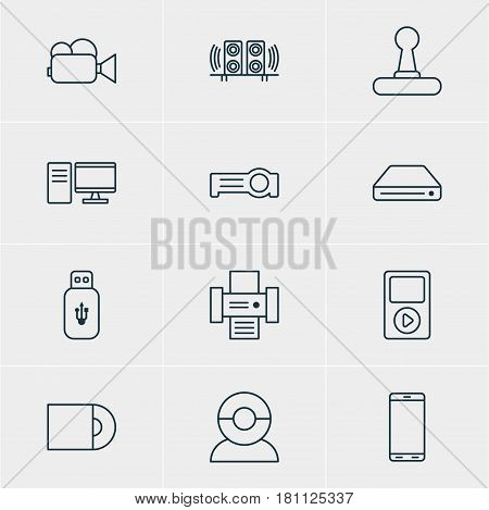 Vector Illustration Of 12 Hardware Icons. Editable Pack Of Game Controller, Usb Card, Floodlight And Other Elements.