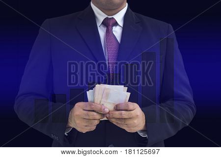 businessman count money on graphic grownup bar and gradient blue background - can use to display or montage on product