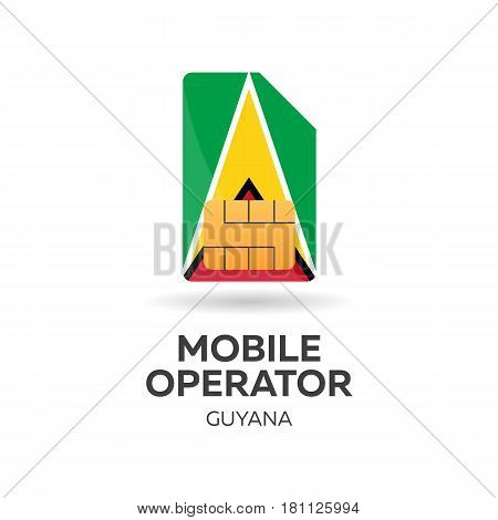 Guyana Mobile Operator. Sim Card With Flag. Vector Illustration.