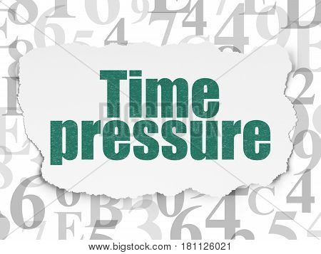 Time concept: Painted green text Time Pressure on Torn Paper background with  Hexadecimal Code