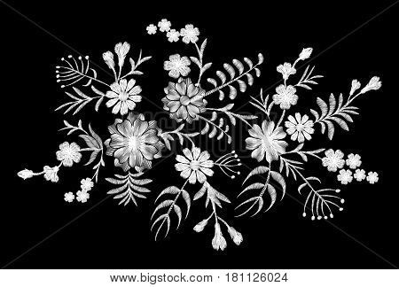White Lace Pattern Of Flowers On A Black Background. Imitation Embroidery. Chamomile, Forget-me-not,