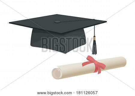 Graduation Cap Hat And Certificate University Academy Diploma College Bachelor Prom Icon Element Fla