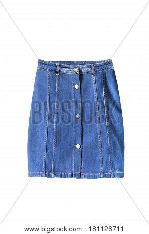 Blue denim mini skirt with buttons isolated over white
