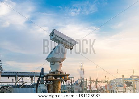 Security CCTV camera system in petrochemical industry.