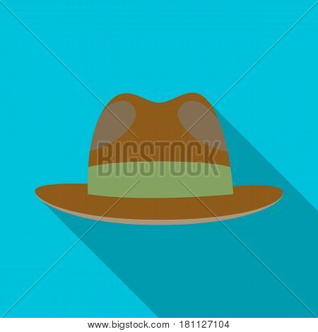 Brown hat with a brim. Headdress investigator for cover.Detective single icon in flat style vector symbol stock web illustration.