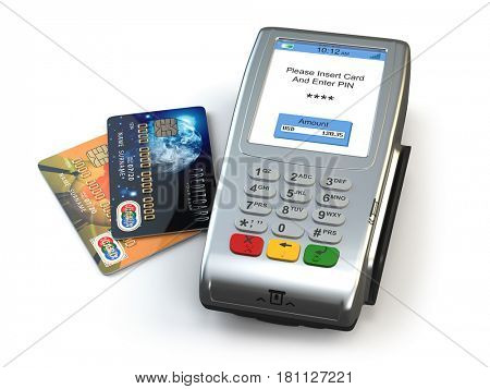 POS terminal with credit cards isolated on white background. Elements of this image furnished by NASA. 3d illustration