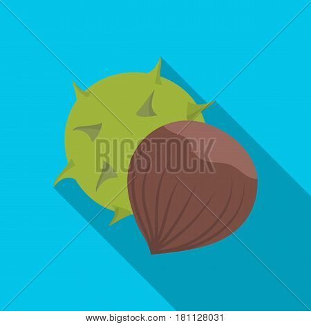 Chestnut.Different kinds of nuts single icon in flat style vector symbol stock web illustration.
