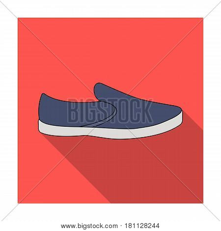 Blue men summer espadrilles . Summer comfortable shoes on the bare feet for everyday wear.Different shoes single icon in flat style vector symbol stock web illustration.