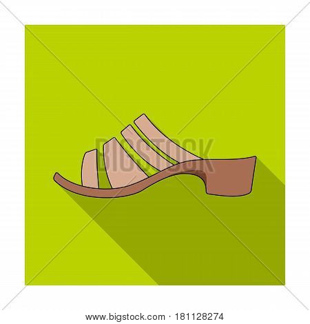 Brown leather women summer heels. Shoes for walking in the Park .Different shoes single icon in flat style vector symbol stock web illustration.