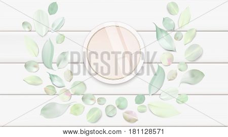 Fashion accessories collection. Makeup face skin powder with rose flower leaves. Spring style organic cosmetics background. White and pink soft color romantic vector illustration design.