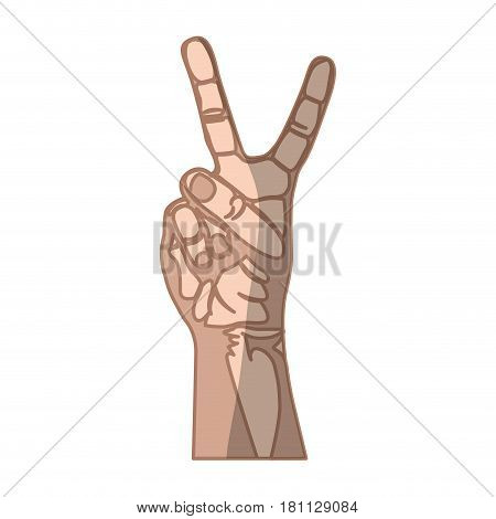 silhouette with skin color hand with shadows and two fingers symbol vector illustration