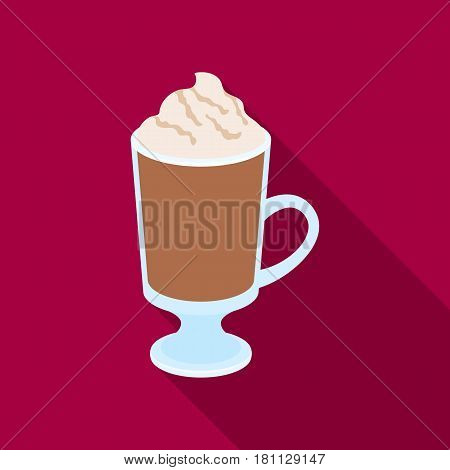 A cup of mocha with foam.Different types of coffee single icon in flat style vector symbol stock illustration .