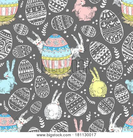 Handdrawn vector happy easter seamless pattern with big decorated egg and cute white bunnies look out for egg. Bunny looks, bunny sits back. Dark background, pastel colors. Cute child drawn style.