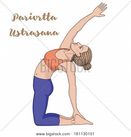 Women silhouette. Revolved Camel Yoga Pose. Parivrtta Ustrasana. Vector illustration