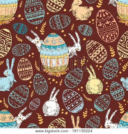 Handdrawn vector happy easter seamless pattern with big decorated egg and cute white bunnies look out for egg. Bunny looks, bunny sits back. Dark background, bright warm colors. Cute child drawn style.