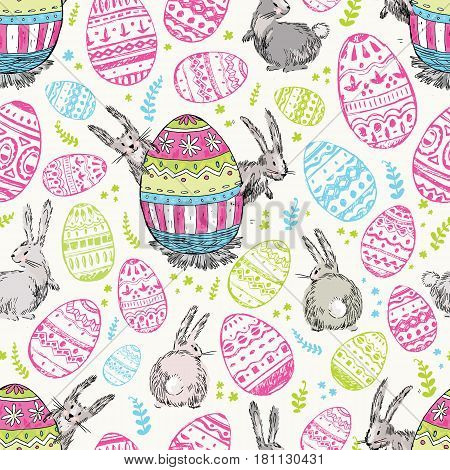 Handdrawn vector happy easter seamless pattern with big decorated egg and cute white bunnies look out for egg. Bunny looks, bunny sits back. Bright pink, blue and green colors. Cute child drawn style.