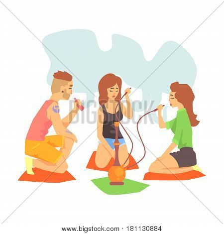 Young Cool Hipsters Smoking Hookah And Vaporizer Sitting On The Floor Illustration With Smokers And Vapers. Cartoon Vector Characters Using Alternative Ways To Smoke Tobacco.