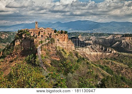 Civita di Bagnoregio, Viterbo, Lazio, Italy: picturesque landscape at of the ancient village on the steep tuff hill