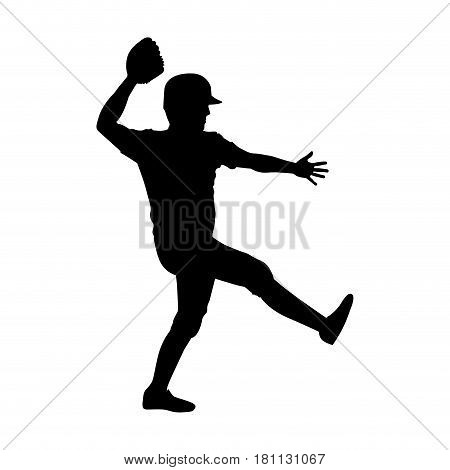 monochrome silhouette with baseball pitcher vector illustration