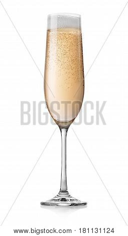 Champagne with bubbles in a glass isolated on white