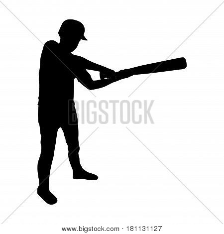 monochrome silhouette of baseball player with baseball bat vector illustration