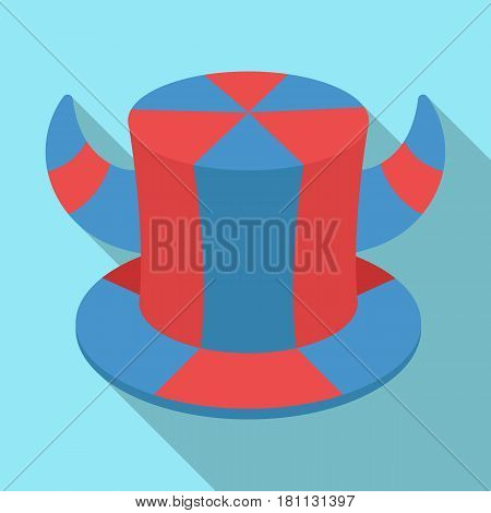 Hat of a fan with horns.Fans single icon in flat  vector symbol stock illustration.