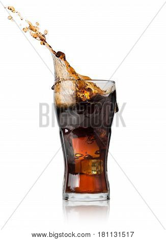 Cola with ice in glass isolated on a white background