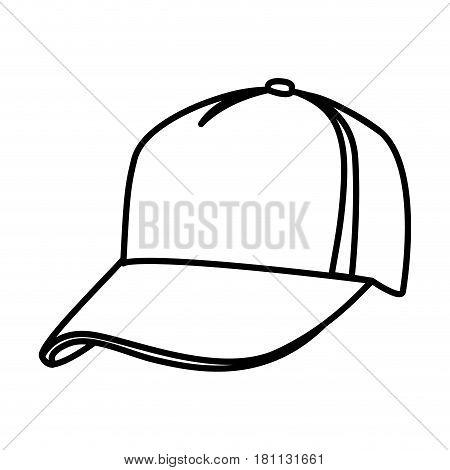 monochrome contour of baseball cap vector illustration