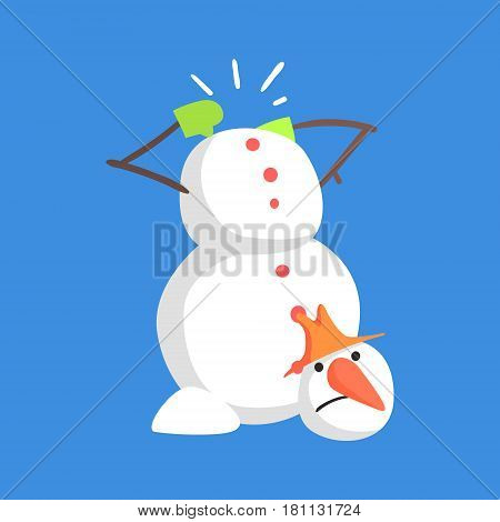 Alive Classic Three Snowball Snowman Lost His Head Cartoon Character Situation. Funny Childish Humanized Snow Sculpture Isolated Flat Vector Illustration On Blue Background.