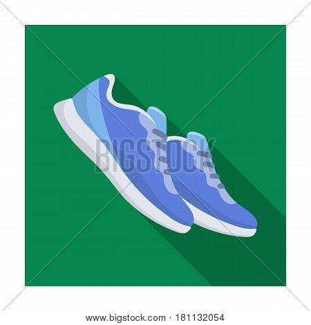 Blue sneakers for sports. Sports shoes .Gym And Workout single icon in flat style vector symbol stock web illustration.