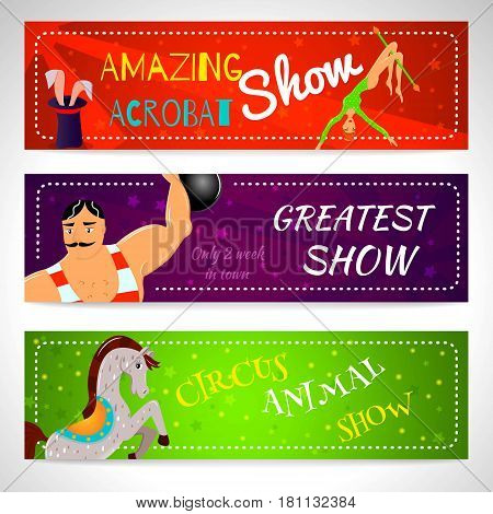 Travelling chapiteau circus magical show flat horizontal banners set abstract isolated illustration