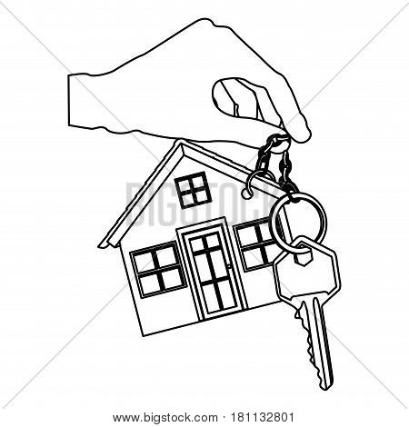 monochrome contour of hand holding metallic keyring in house shape and key vector illustration