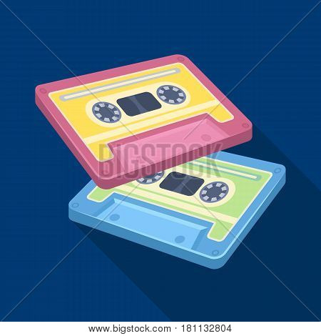 Cassettes for tape recorder.Hippy single icon in flat style vector symbol stock illustration .
