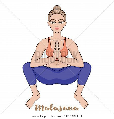 Women silhouette. Squat Yoga Pose. Malasana Vector illustration