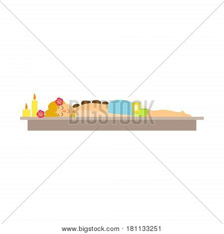 Woman relaxing at spa while having hot stones treatment and, skincare treatments. Colorful cartoon character isolated on a white background