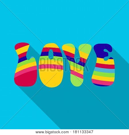 Rainbow inscription of the word love.Hippy single icon in flat style vector symbol stock illustration .