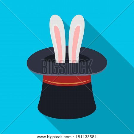Ears of a hare in a hat. Foci.Party and parties single icon in flat style vector symbol stock web illustration.