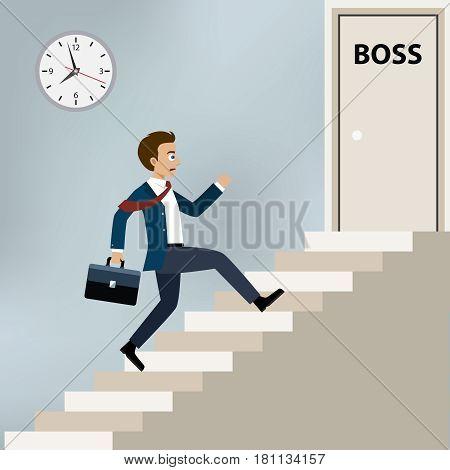 Businessman running upstairs to boss office door.
