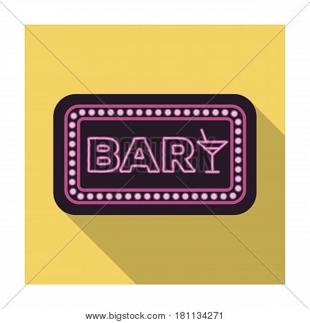 Advertising bar. The sign in front of the bar with pink lettering. Pub single icon in flat style vector symbol stock web illustration.