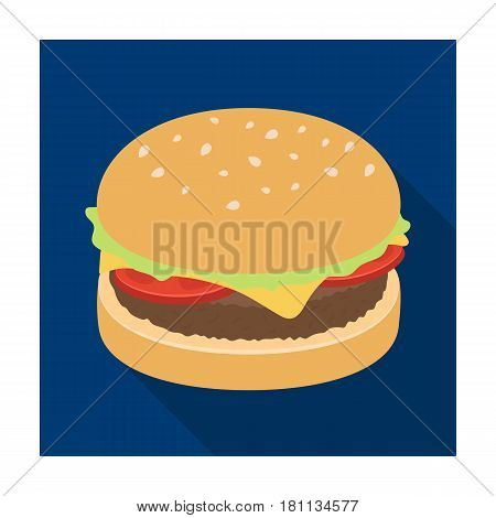 Burger with cutlet and slabom. Bar food with beer. Pub single icon in flat style vector symbol stock web illustration.