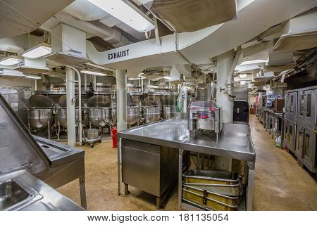 HONOLULU, OAHU, HAWAII, USA - AUGUST 21, 2016: cooking room with pots and cauldrons of Battleship Missouri at Pearl Harbor. The end World War II was signed on this warship