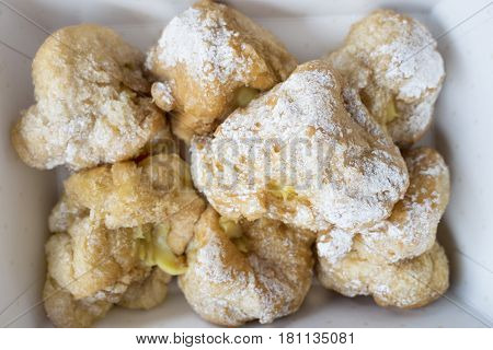 italian cream puffs with custard filling or st. joseph's day pastries
