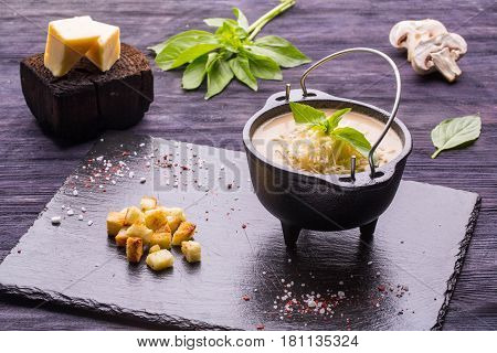 Soup cream soup with toasts. Soup cream soup with toasts