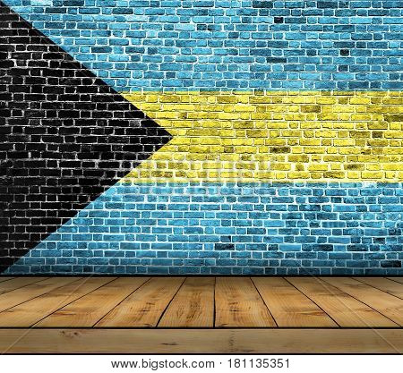 Bahamas flag painted on brick wall with wooden floor