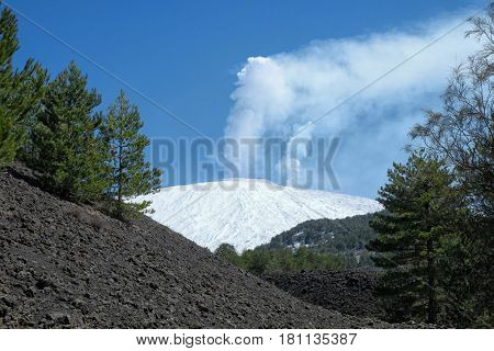 two high plumes of white steam from summit craters of snowy Etna Mount, Sicily