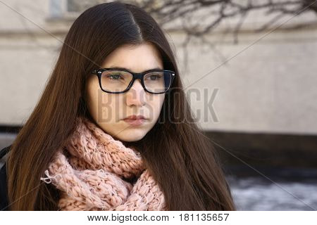 Teen Girl With Long Brown Hair In Eyewear Myopia Glasses