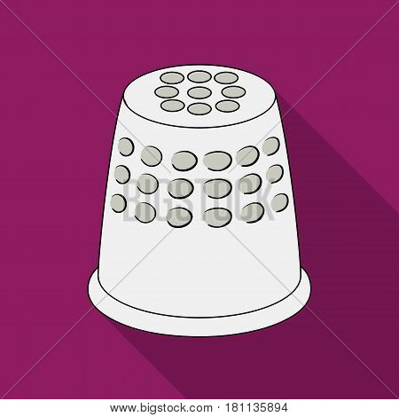 A thimble to protect your fingers when sewing.Sewing or tailoring tools kit single icon in flat style vector symbol stock web illustration.